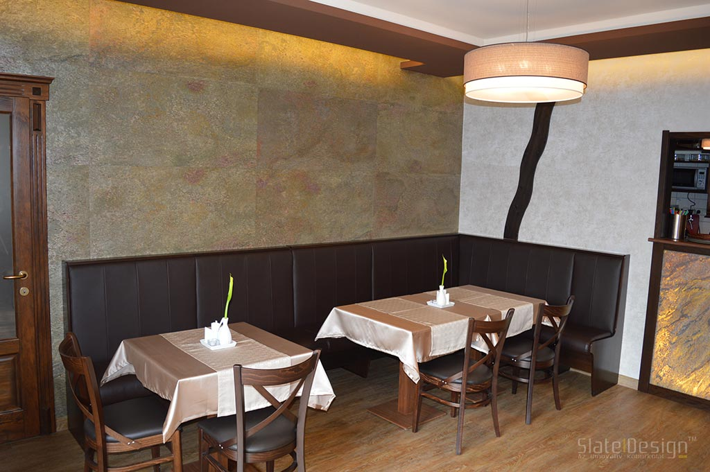 Patak Étterem - kőburkolat a falon, bárpulton