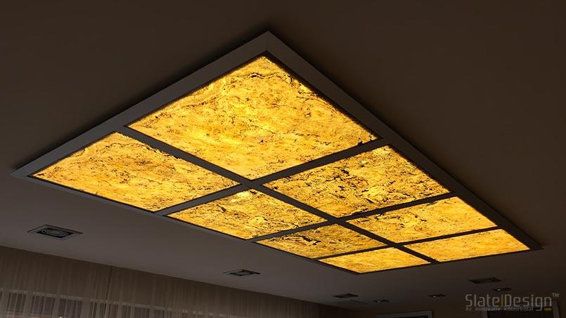 Tiszaújvárosi családi ház - átvilágítható és megvilágított kőburkolat