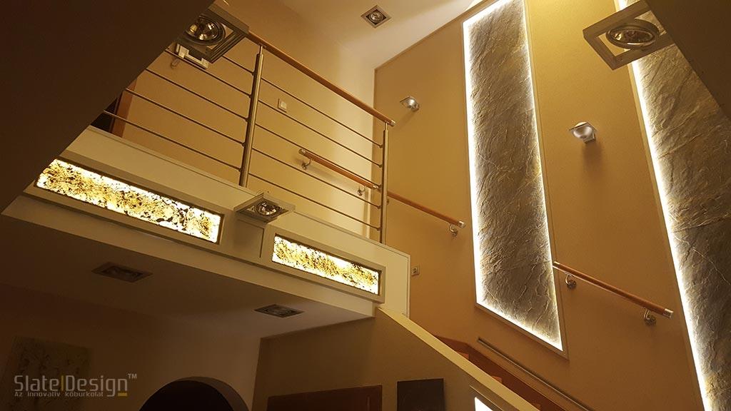 Tiszaújvárosi családi ház - átvilágítható kőburkolat
