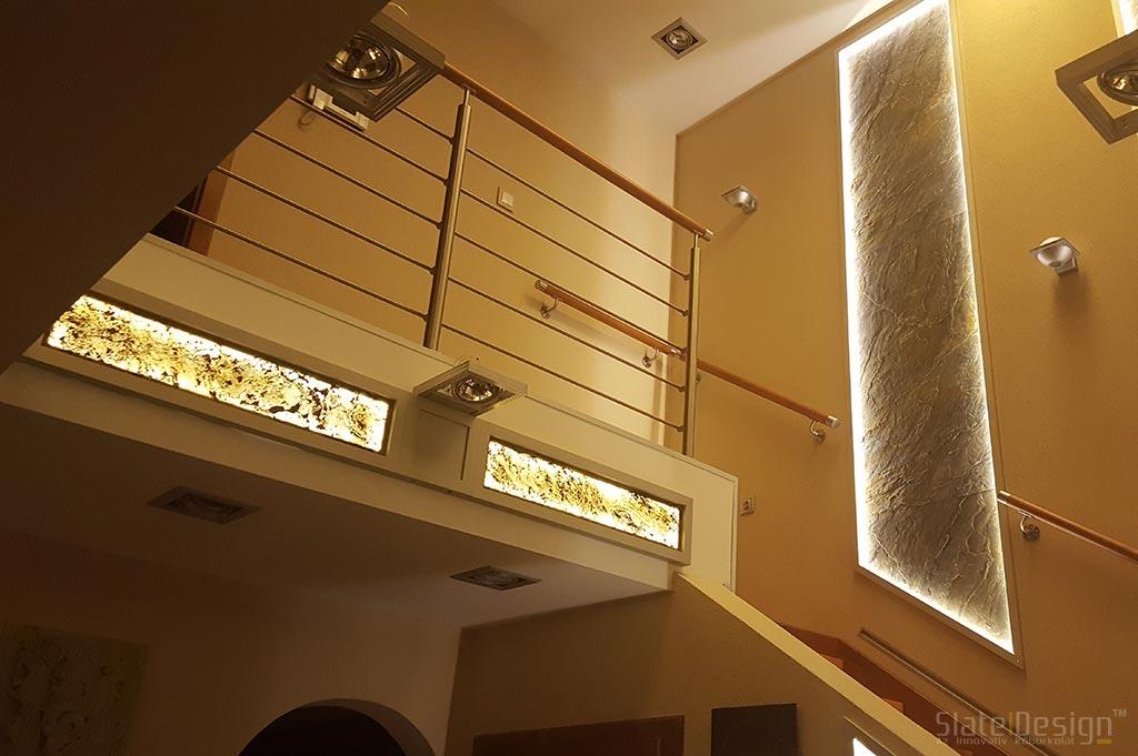 Tiszaújvárosi családi ház átvilágítható falburkolata