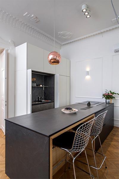 beépített konyhabútor, kőburkolat