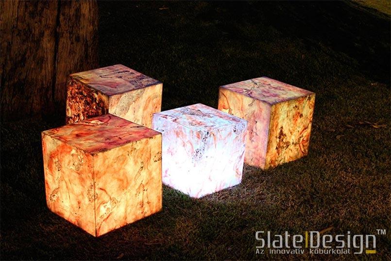 világító kockák, kőburkolat
