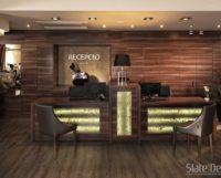 A Barack Thermal Hotel & Spa elegáns pultját az átvilágítható Silver Shine Gold Translucent kőfurnér teszi igazán látványossá.