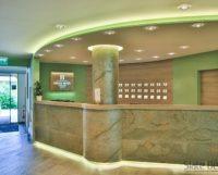 A Silver Shine Gold LiteStone kőfurnér teszi igazán látványossá a 44 szobás alpesi szálloda recepciós pultját. Az oszlopon az az extrém hajlítható EcoStone változat látható.