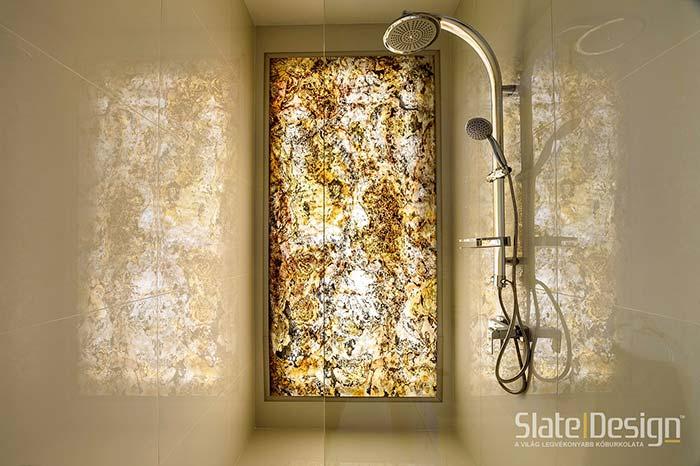 átvilágítható fürdőszobai kőburkolat