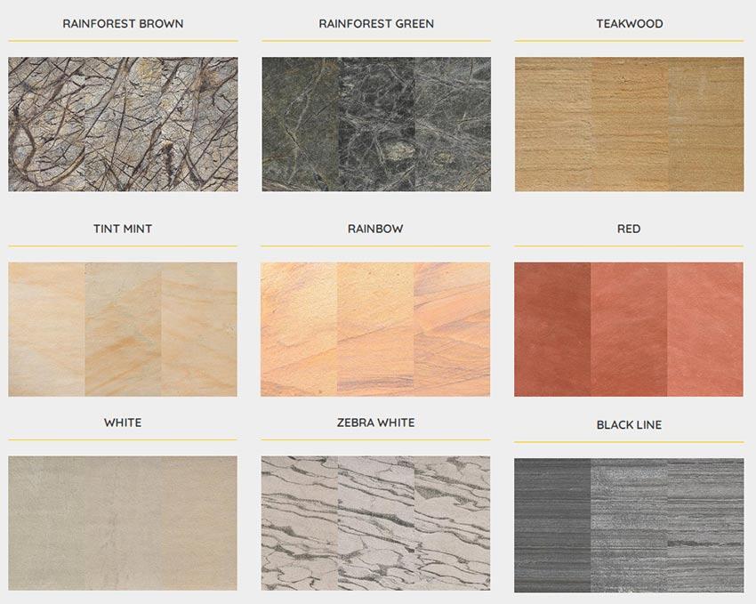 homokkő színek, kőfurnér